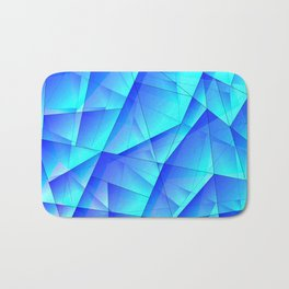 Abstract celestial pattern of blue and luminous plates of triangles and irregularly shaped lines. Bath Mat