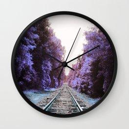 Train Tracks : Violet Blue Dreams Wall Clock