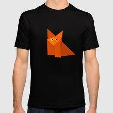 Dark Geometric Cute Origami Fox Mens Fitted Tee MEDIUM Black