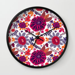 Playful Flowers in Bright Warm colors Wall Clock
