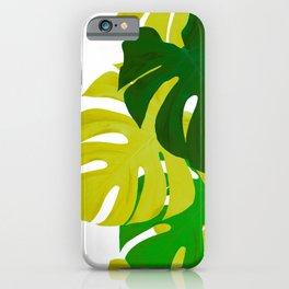 Green Monstera Leaves White Background #decor #society6 #buyart iPhone Case