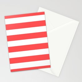 Coral Stripes Stationery Cards