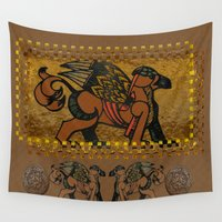 mythology Wall Tapestries featuring Gryphon New Age Mythology Folk Art by BohemianBound