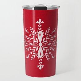 Large snowflakes on Christmas red Travel Mug