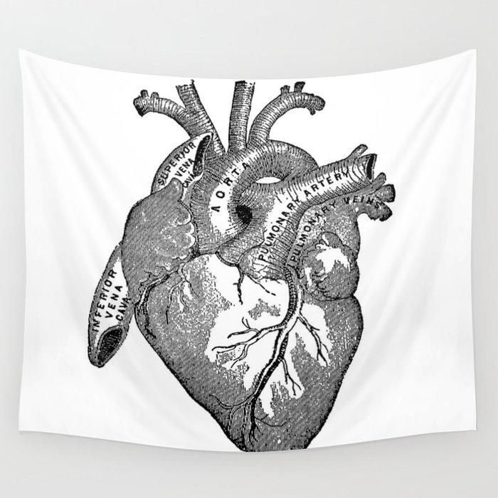 Vintage Anatomy Heart Wall Tapestry by nectartea   Society6