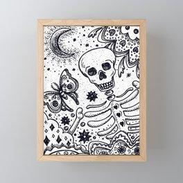BONES IN THE GARDEN Skeleton And Moon Moth Framed Mini Art Print