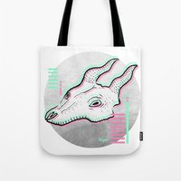 glitch Tote Bags featuring Glitch by Sonia Lazo
