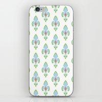 fleur de lis iPhone & iPod Skins featuring Fleur de Lis Blue by Drape Studio