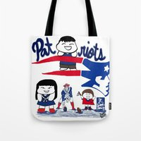 patriots Tote Bags featuring Team Patriots!  by Happy Positivity