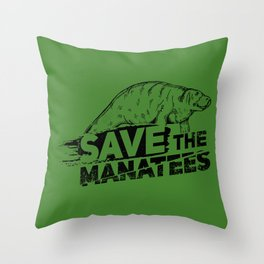 Save The Manatees II - Nature & Wildlife Gift Throw Pillow