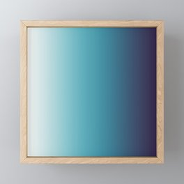 Blue White Gradient Framed Mini Art Print