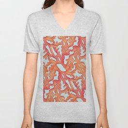 Coral Pattern on Aqua Unisex V-Neck