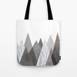 Marble Gray Copper Black and White Mountains Tote Bag