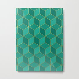 AMAZONITE GREEN CUBE PATTERN (Gold Lined) Metal Print