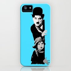 Chaplin and the kid - turquoise iPhone (5, 5s) Slim Case