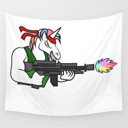 Unicorn rainbow machine gun shooting weapon fighter soldier gift idea Wall Tapestry
