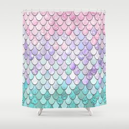 Mermaid Pastel Pink Purple Aqua Teal Shower Curtain