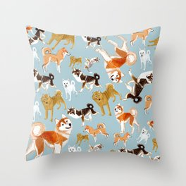 Japanese Dog Breeds Throw Pillow