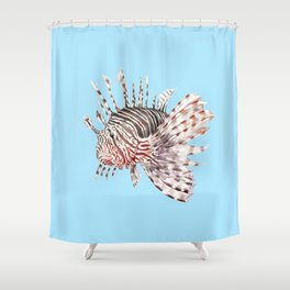 Watercolor Lionfish Tropical Fish Marine Life Painting Shower Curtain