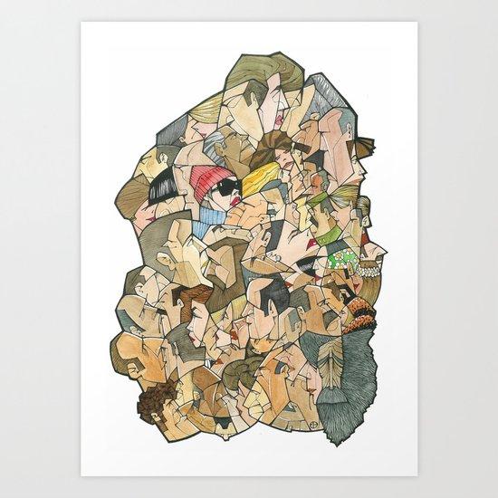 1001 faces Art Print