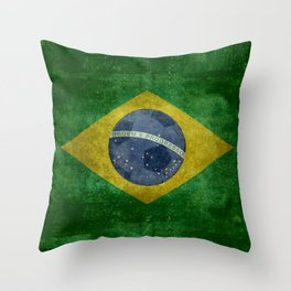 Vintage Brazilian National flag with football (soccer ball) Throw Pillow