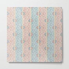 Geometric Sunburst Circles and Stripes in Muted Blush Pink Blue Yellow Metal Print