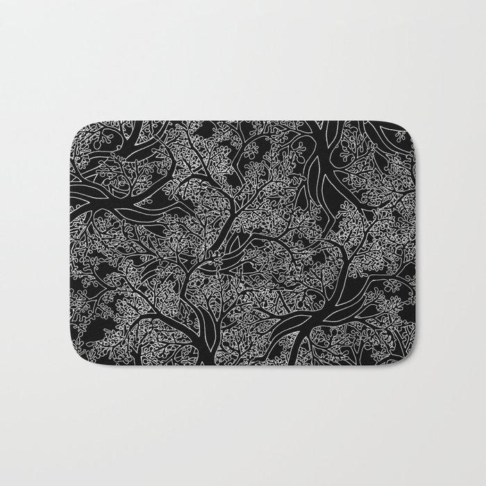 Tree Repeat Black Bath Mat