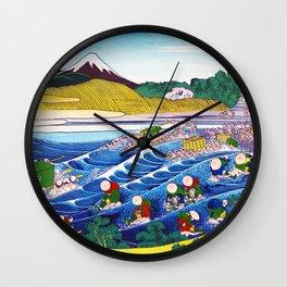 Mount Fuji, Tokaido Kanaya no Fuji, Fuji at Kanaya on the Tokaido Road, Restored Antique Ukiyo-e Color Japanese Woodblock Print Wall Clock