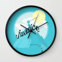 justice league Wall Clocks featuring Justice !.. by Oblivion Creative