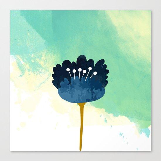Acuarela Blue Flower Canvas Print