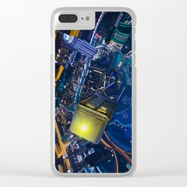 Tardis doctor who Flying at modern starry night iPhone, ipod, ipad, pillow case and tshirt Clear iPhone Case