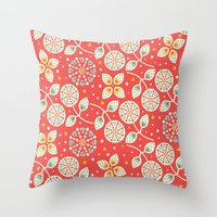 death cab for cutie Throw Pillows featuring Cutie by Pink Berry Patterns