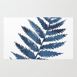 Blue watercolor fern Rug