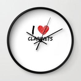I Love Clarinets Wall Clock