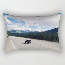 Black Bear Crossing Rectangular Pillow