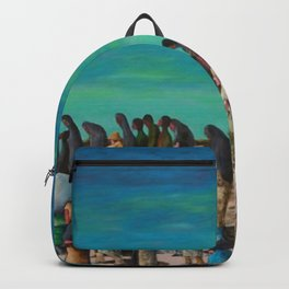 """African American Classical Masterpiece """"Mississippi River - Trail of Tears No. 2"""" by Benny Andrews Backpack"""