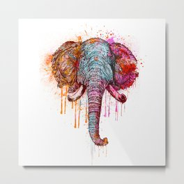 Watercolor Elephant Head Metal Print