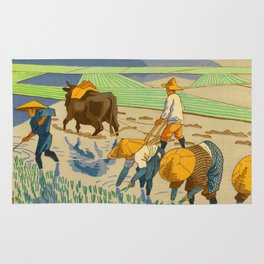 Asano Takeji Rice Transplantation Vintage Japanese Woodblock Print Asian Farmers Sedge Hat Rug