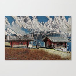 Old cabins on the Alpins Canvas Print