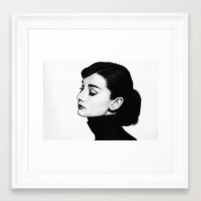Audrey Hepburn Portrait Framed Art Print by chrissamba   Society6