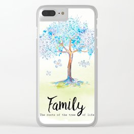 Family blue Clear iPhone Case