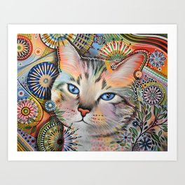Aslan ... Abstract cat art painting, by Amy Giacomelli Art Print