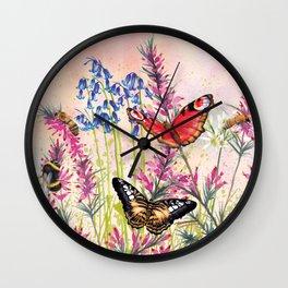 Wild meadow butterflies Wall Clock