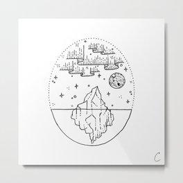 Iceberg Under Northern Lights Aurora Design Metal Print