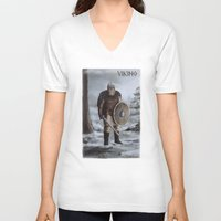 viking V-neck T-shirts featuring Viking by Silvana Massa Art