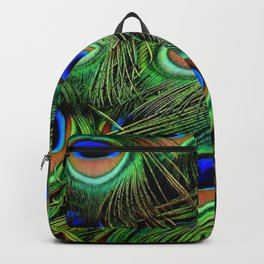 Beautiful photograph of peacock feathers Backpack