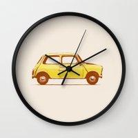 mini cooper Wall Clocks featuring Famous Car #1 - Mini Cooper by Florent Bodart / Speakerine