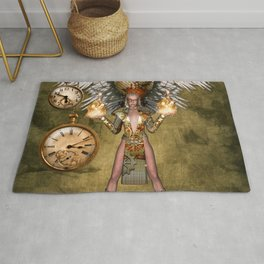 Steampunk lady with wings Rug