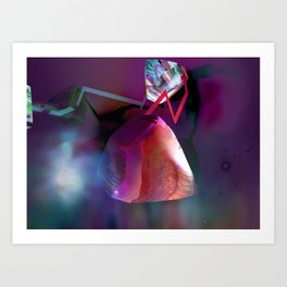 Nebula Painting with Gems and Lightning Art Print