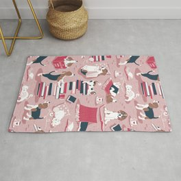 Life is better with books a hot drink and a friend // pink background brown white and blue beagles and cats and red cozy details Rug